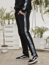 retainer tape sweat pants (black)